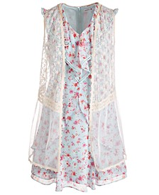 Big Girls 2-Pc. Lace Vest & Ruffled Floral Dress Set