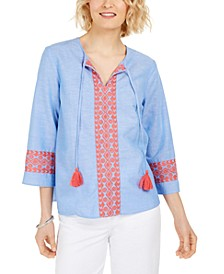 Embroidered Tasseled Blouse, Created for Macy's