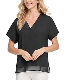 DKNY V-Neck Chiffon-Trim Top