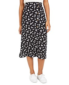 Juniors' Floral-Print Midi Skirt