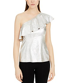 INC Metallic Ruffled One-Shoulder Top, Created for Macy's