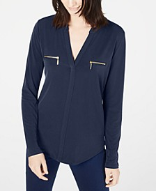 INC Petite Zippered-Pocket Top, Created for Macy's
