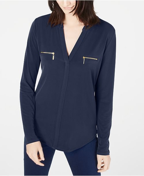 INC International Concepts INC Petite Zippered-Pocket Top, Created for Macy's