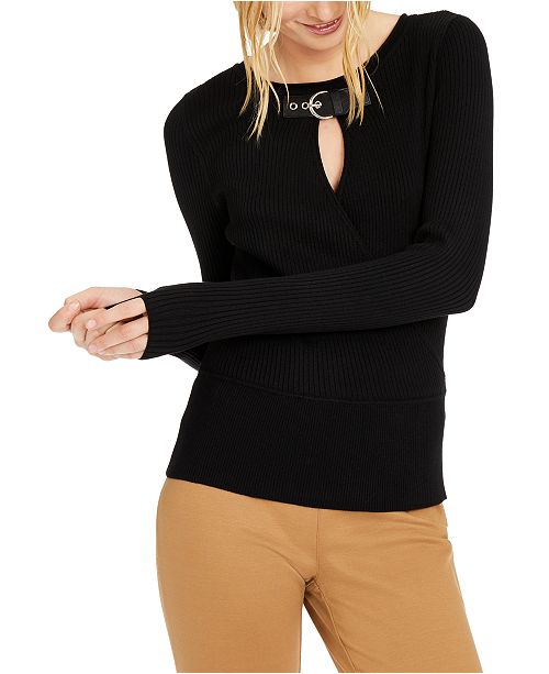 INC International Concepts INC Buckle-Detail Keyhole-Cutout Sweater, Created For Macy's
