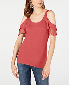 INC Ruffled Cold-Shoulder Top, Created for Macy's