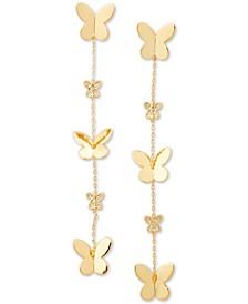 Gold-Tone Pavé Butterfly Linear Drop Earrings