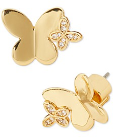 Gold-Tone Cubic Zirconia Butterfly Stud Earrings