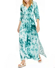 INC Petite Shirred Tie-Dyed Dress, Created for Macy's