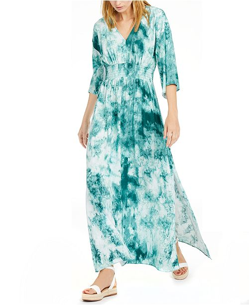 INC International Concepts INC Petite Shirred Tie-Dyed Dress, Created For Macy's