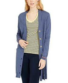 Striped-Cuff Cotton Cardigan