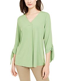 Petite Tie-Sleeve Top, Created for Macy's