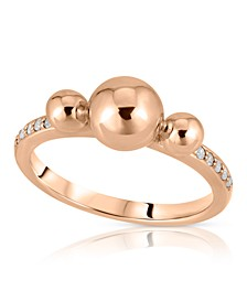 Brilliant Bubbles Diamond 1/10cttw 3 Bubble Ring Designed in 14k Rose Gold over Sterling Silver
