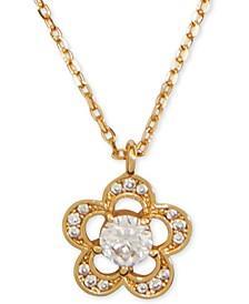 "Crystal Flower Pendant Necklace, 17"" + 3"" extender"