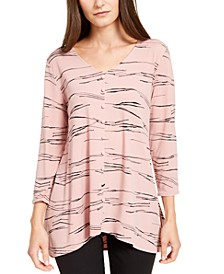 Petite Printed Button-Trim Top, Created For Macy's