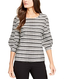 Striped Balloon-Sleeve Top, Created for Macy's