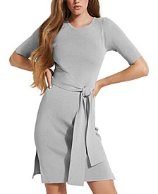 Ribbed Tie-Front Bodycon Dress