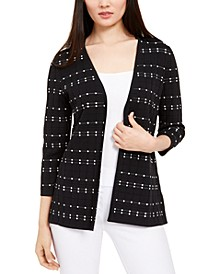 Petite Dot Stitch Open-Front Cardigan, Created for Macy's