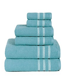 American Dawn Pomoria Solid 6 Piece Towel Set With Dotted Boreder