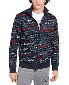 Men's Full-Zip High Collar All-Over Logo Blouson Sweater