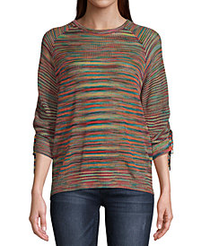 John Paul Richard Space-Dye Ruched-Sleeve Sweater