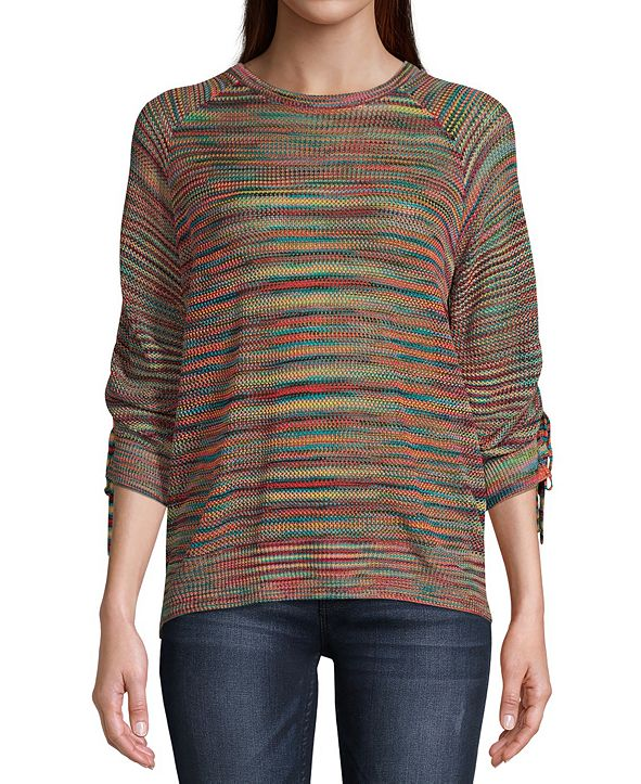 John Paul Richard Space-Dye Ruched-Sleeve Sweater