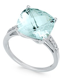 Aquamarine (6-3/8 ct. t.w.) & Diamond (1/8 ct. t.w.) Ring in Sterling Silver