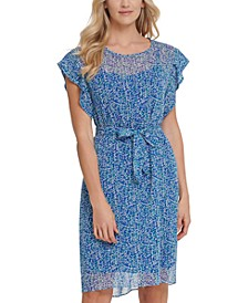 Flutter-Sleeve Belted Dress