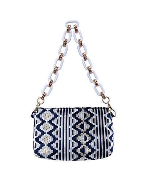Nina Giada Zig-Zag Brocade Pattern Shoulder Bag With Lucite Chain