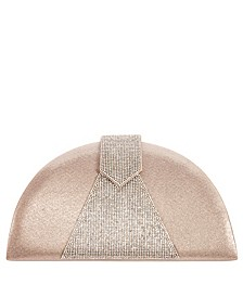 Bijou Half-Moon Crystal Embellished Clutch