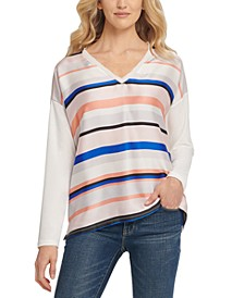Mixed-Media V-Neck Top