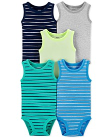 Baby Boys 5-Pk. Striped Sleeveless Bodysuits