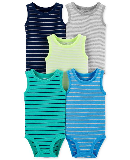 Carter's Baby Boys 5-Pk. Striped Sleeveless Bodysuits