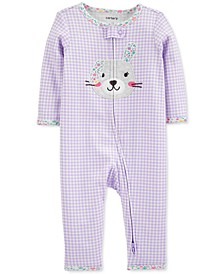 Baby Girls Gingham-Print Bunny Cotton Coverall