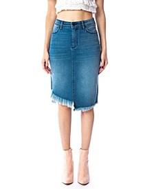 Mid Rise Asymmetrical Midi Skirt