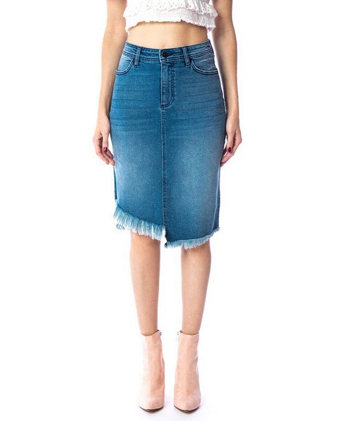 Kancan - Mid Rise Asymmetrical Midi Skirt