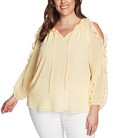 Trendy Plus Size Ruffled Cold-Shoulder Top