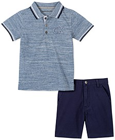 Toddler Boys 2-Pc. Tipped Embossed Logo Polo Shirt & Twill Shorts Set