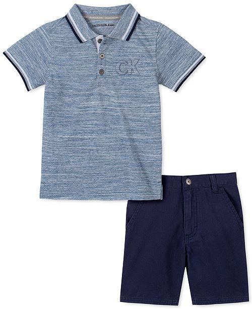 Calvin Klein Toddler Boys 2-Pc. Tipped Embossed Logo Polo Shirt & Twill Shorts Set