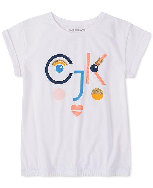 Calvin Klein Big Girls Glitter Face T-Shirt