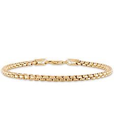 "Men's Box Chain (3.5mm) 8 1/2"" Bracelet in 14k Gold Over Sterling Silver"