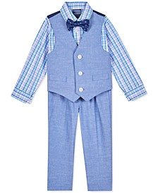 Baby Boys 4-Pc. Plaid Shirt, Vest, Pants & Printed Bow Tie Set