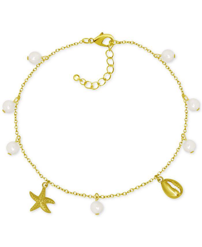 Kona Bay - Shell & Imitation Pearl Charm Ankle Bracelet in Gold-Plate