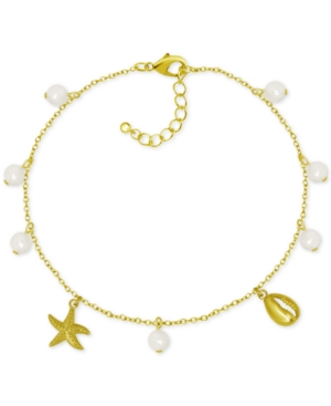Shell & Imitation Pearl Charm Ankle Bracelet in Gold-Plate