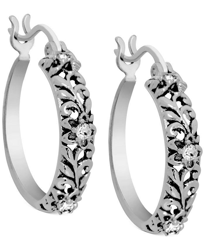 Kona Bay - Flower Hoop Earrings in Fine Silver-Plate