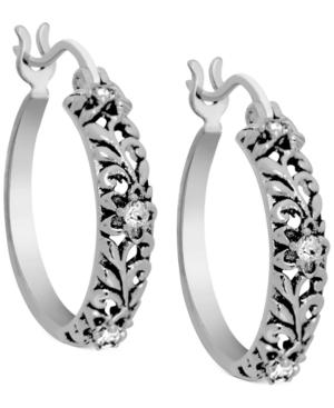 Flower Hoop Earrings in Fine Silver-Plate