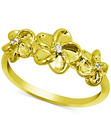 Flower Trio Ring in Gold-Plate
