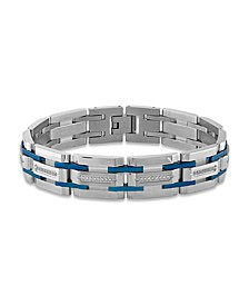 """Men's 1/3 Carat Diamond 8 1/2"""" Bracelet in Stainless Steel and Navy Blue Ion Plated"""