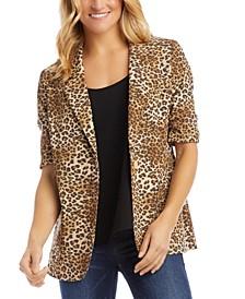 Ruched-Sleeve Leopard-Print Blazer