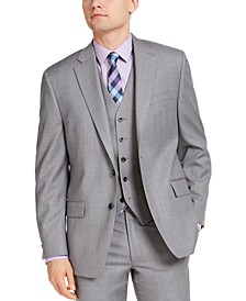 Men's Classic-Fit Airsoft Stretch Gray Sharkskin Suit Jacket