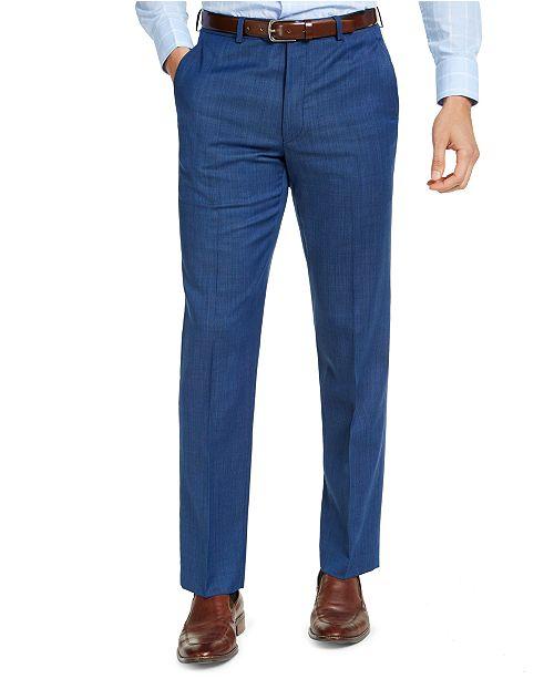 Michael Kors Men's Classic-Fit Airsoft Stretch Blue Tic Suit Pants